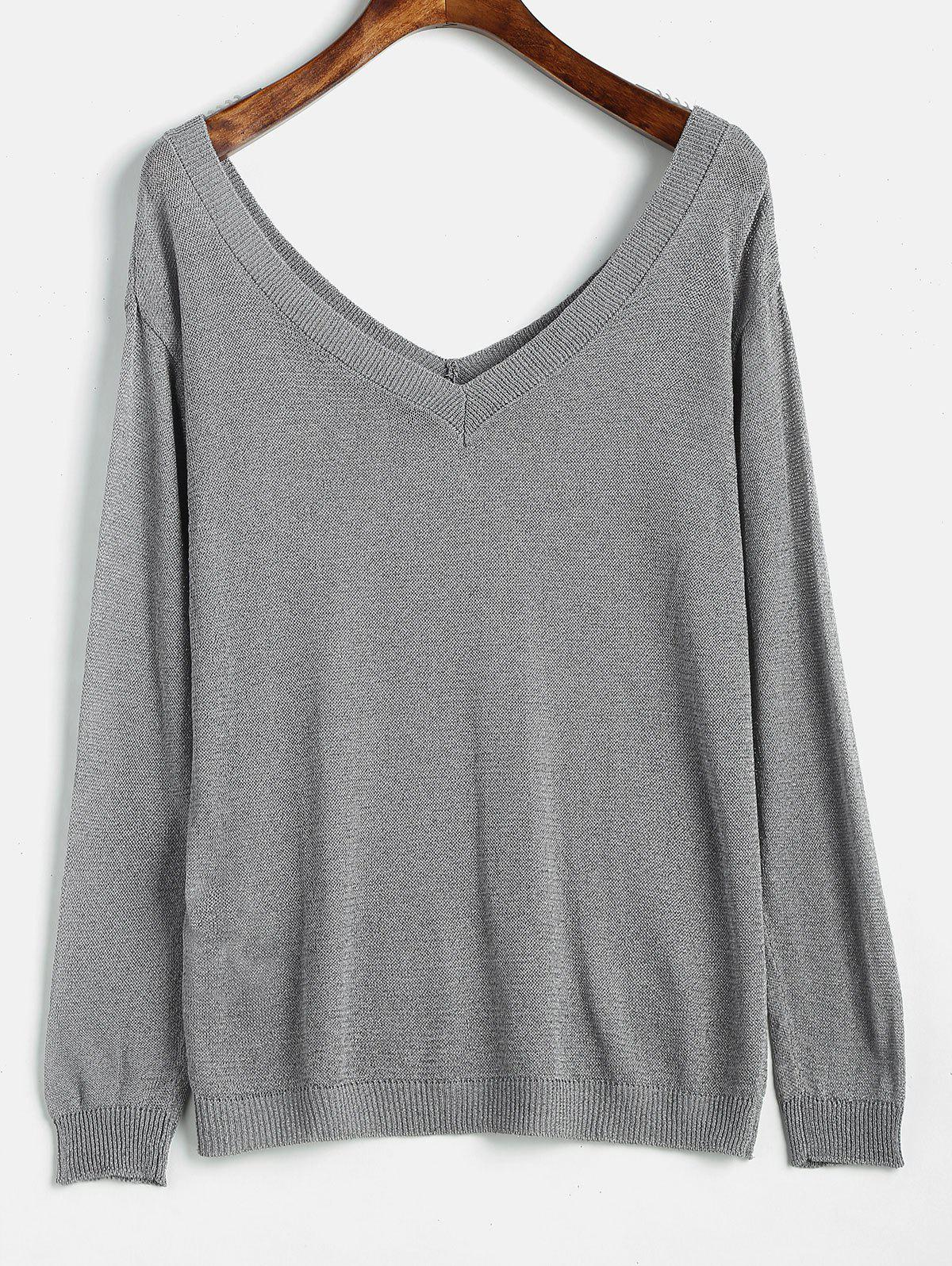 Low Cut Backless Knit Tee