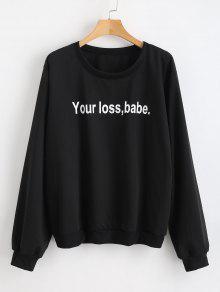 فقدان الخاص بك فاتنة الجرافيك البلوز - أسود L