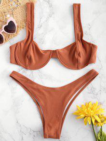 ZAFUL Underwire Balconette Bikini Set - بنى L