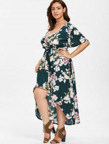 29423875c81 ZAFUL Plus Size Floral Print Belted Dress