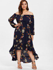 ZAFUL بالاضافة الى حجم ارتفاع منخفض فستان زهري طويل - منتصف الليل الأزرق 3x