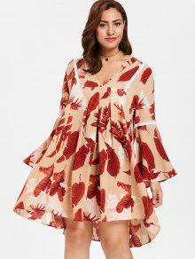 ZAFUL بالاضافة الى حجم مضيئة كم فستان مطبع - متعدد 4x