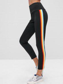 ZAFUL Rainbow Stripe Tights Leggings - أسود L