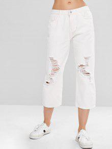 ZAFUL Wide Leg Ripped Jeans - أبيض S