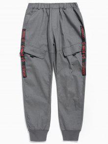 سروال جيب تصميم رسالة الطباعة - الرمادي الداكن Xl
