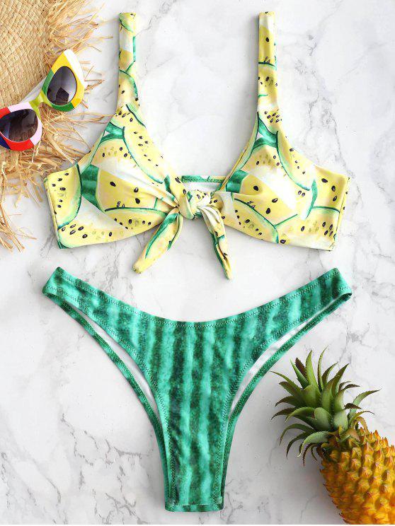ZAFUL Bikini con Nudos en Frente de Sandía - Amarillo de Maíz M