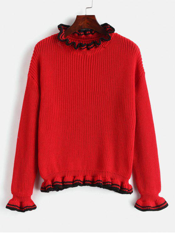 chic Stripes Panel Ruffles Sweater - LAVA RED ONE SIZE