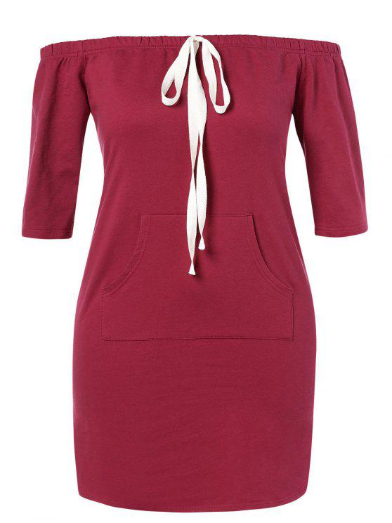 ZAFUL زائد الحجم معطلة الكتف اللباس الجيب - نبيذ احمر L