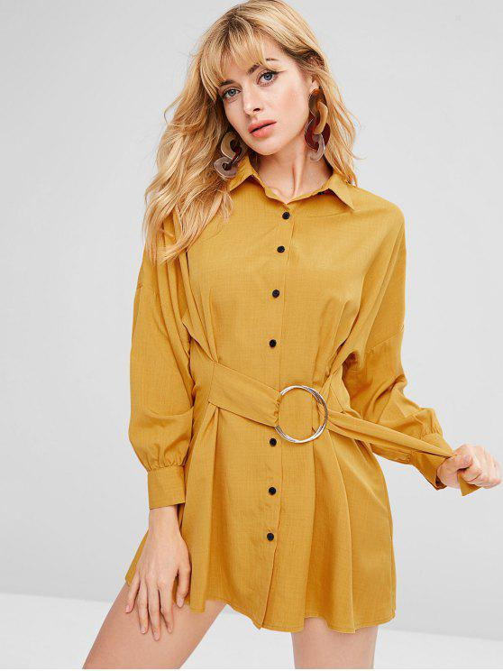 lady ZAFUL Oversized Mini Button Up Shirt Dress - BEE YELLOW XL