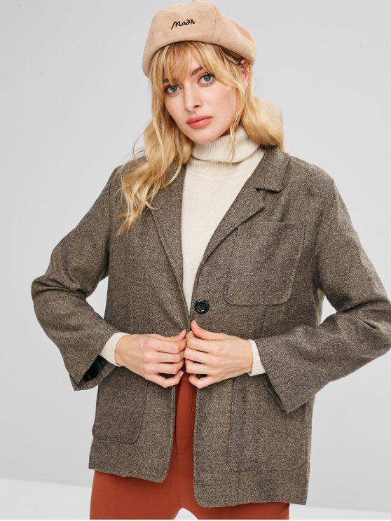 trendy Heathered Button Up Blazer - DEEP BROWN ONE SIZE
