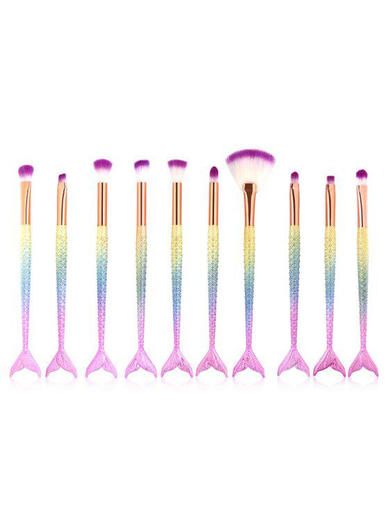 shop 10Pcs Mermaid Shaped Handles Eyeshadow Blending Fan Brush Set - MULTI-A