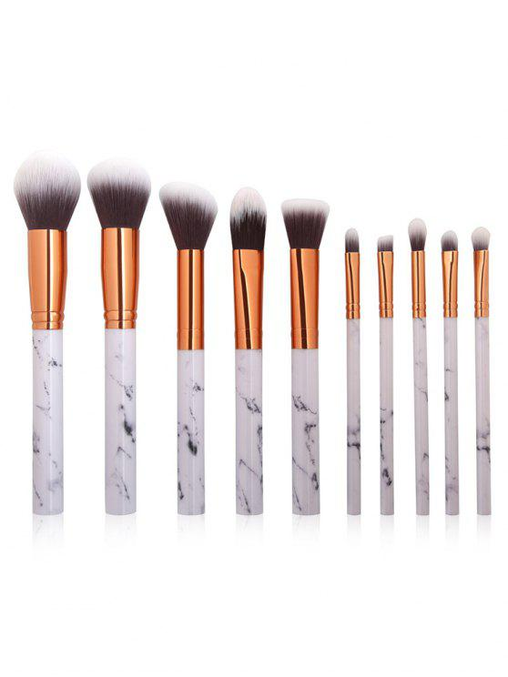 unique 10Pcs Marbles Handles Eyeshadow Blush Powder Foundation Brush Collections - PLATINUM