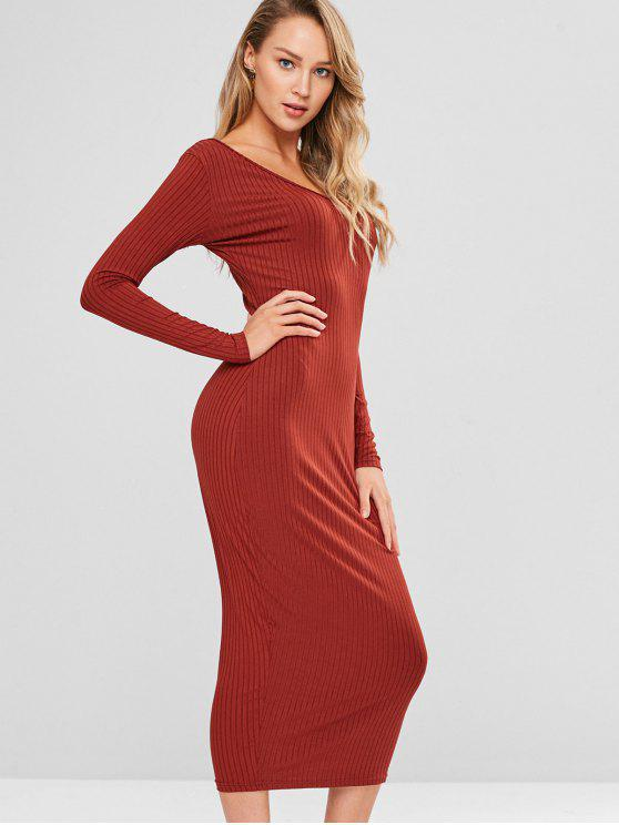156d491db323 26% OFF  2019 Long Sleeve Midi Bodycon Dress In CHESTNUT RED