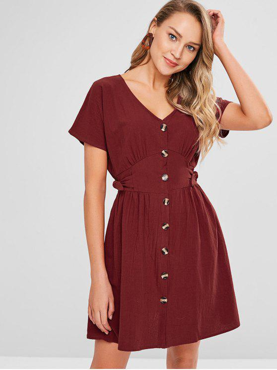 fashion Pleated-detail Knot Button Down Dress - RED WINE S