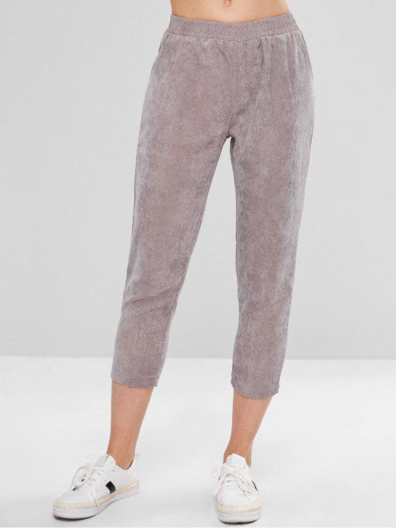 best Pocket Capri Corduroy Pants - GRAY L