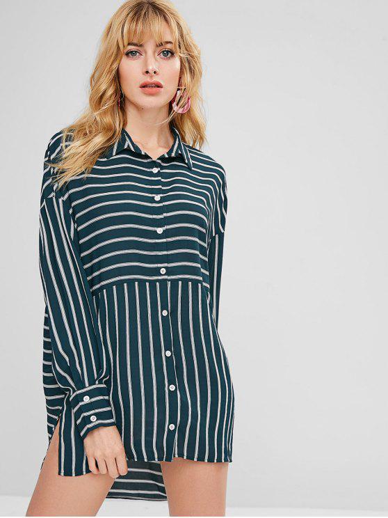 lady ZAFUL Asymmetric Striped Slit Shirt Dress - DARK GREEN L