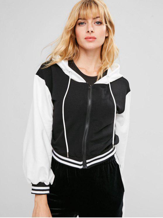 fancy ZAFUL Zip Front Striped Contrast Hoodie - BLACK L