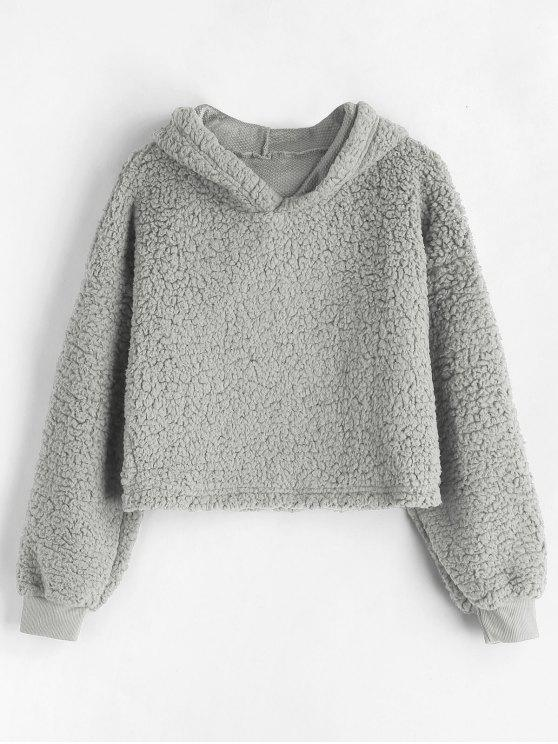 fashion Drop Shoulder Fluffy Boxy Hoodie - LIGHT GRAY M