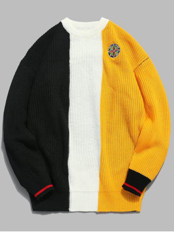 fancy Badge Pattern Color Block Pullover Sweater - RUBBER DUCKY YELLOW 2XL