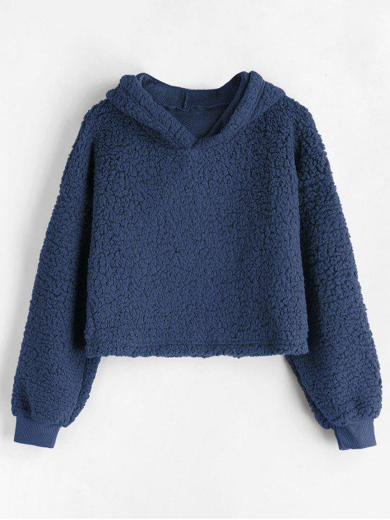 trendy Drop Shoulder Fluffy Boxy Hoodie - DEEP BLUE M