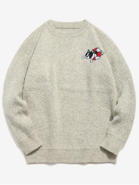 2018 Suéter Pullover De Patrón De Perro En Gris Claro M | ZAFUL