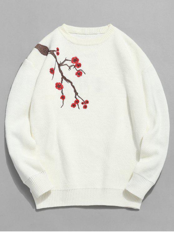 Chandail Pull-over Motif Fleur de Prunier - Blanc M