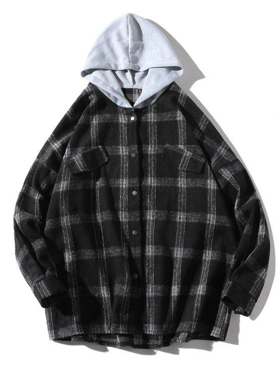 women's Loose Check Pattern Faux Pocket Hooded Shirt - BLACK S