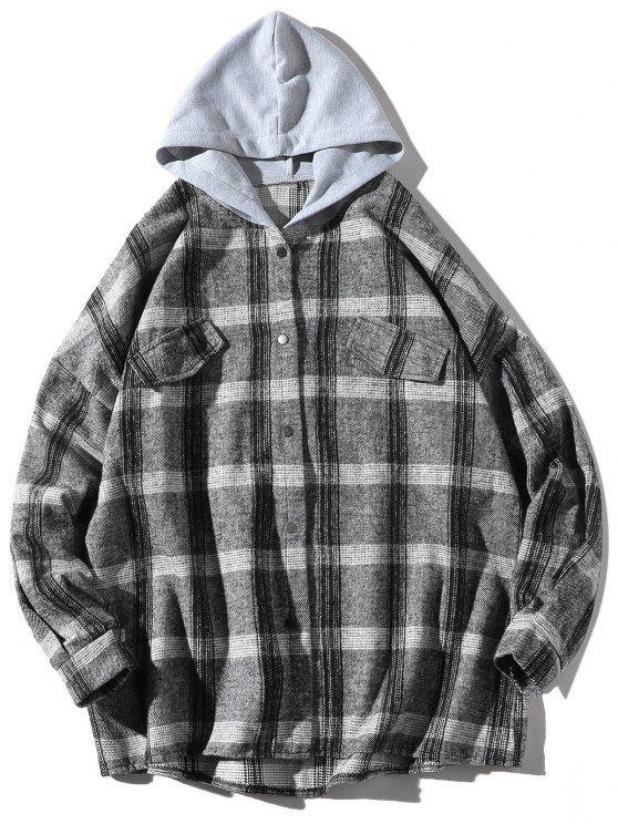 best Loose Check Pattern Faux Pocket Hooded Shirt - DARK GRAY 3XL