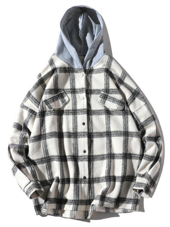 lady Loose Check Pattern Faux Pocket Hooded Shirt - WHITE 2XL