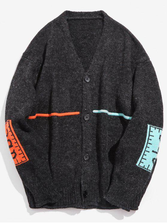 buy Contrast Elbow Patch Knitted Cardigan - BLACK XL