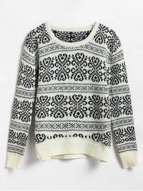 hot Two Tone Jacquard Sweater - MULTI ONE SIZE