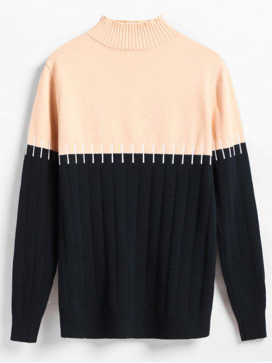 outfit Wide Ribbed Color Block Sweater - BLACK ONE SIZE