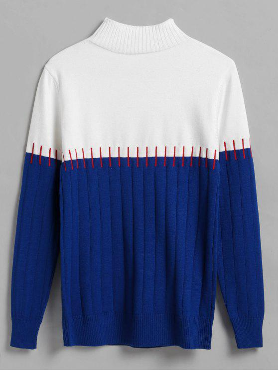 060b21c3b40142 55% OFF] 2019 Color Block Stitch Effect Wide Ribbed Sweater In BLUE ...