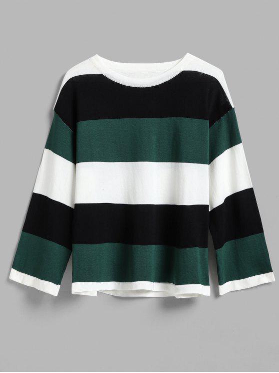 shops Wide Stripe Tricolor Light Sweater - GREEN ONE SIZE
