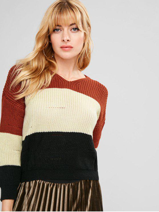trendy Contrast Striped Hooded Sweater - MULTI ONE SIZE