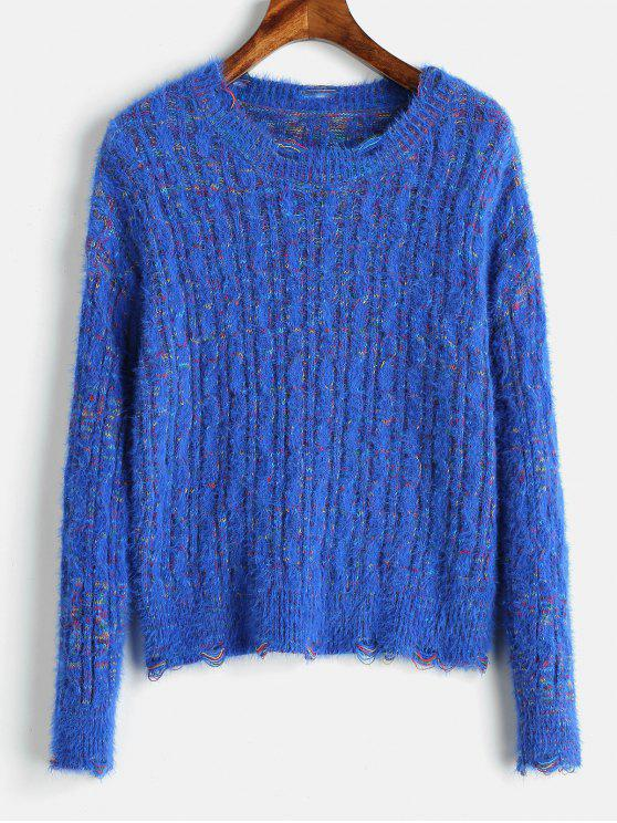 fancy Cable Knit Mixed Yarn Fluffy Sweater - BLUE ONE SIZE
