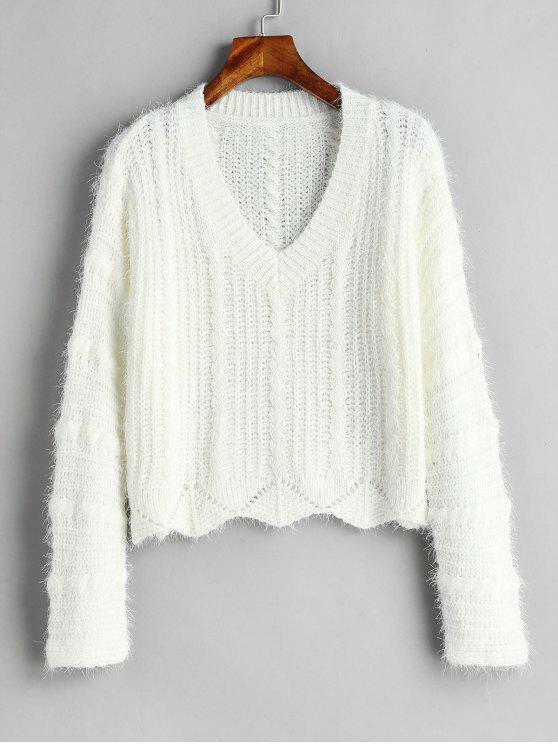 Cozy Fluff Yarn Cable Knit Sweater - أبيض حجم واحد