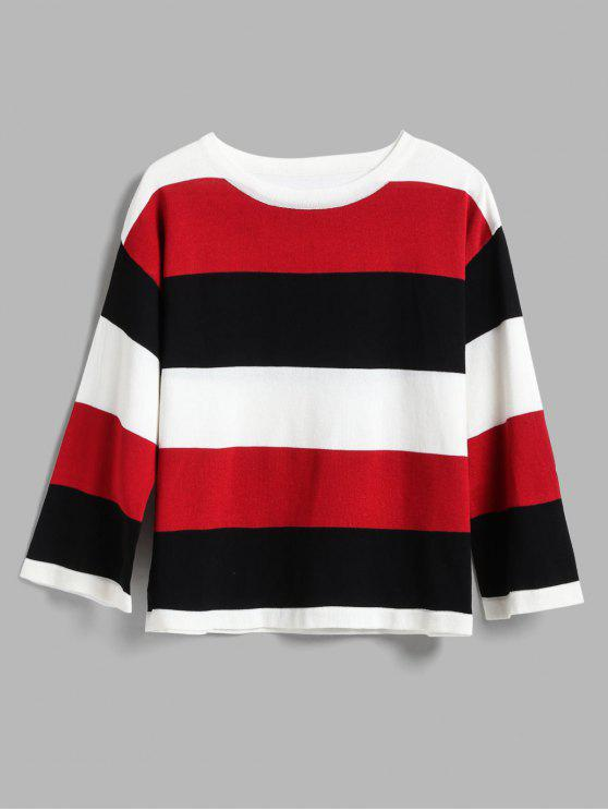 ladies Wide Stripe Tricolor Light Sweater - RED ONE SIZE