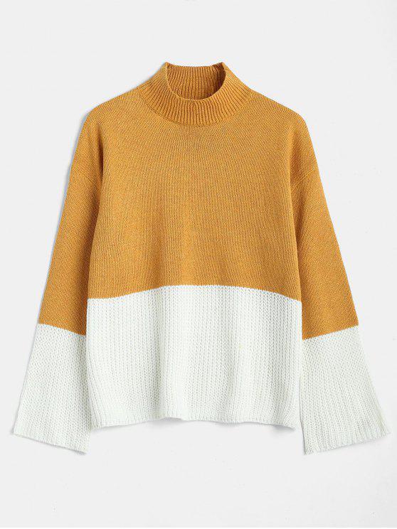Mock Neck Two Tone Knit Sweater - الذهب البرتقالي S