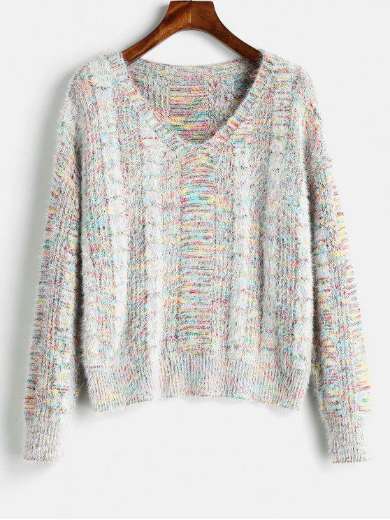 new Mixed Yarn Cable Knit Fluffy Sweater - MULTI ONE SIZE