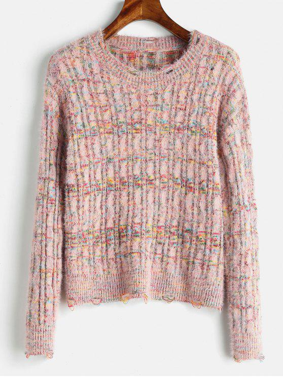 fashion Cable Knit Mixed Yarn Fluffy Sweater - MULTI ONE SIZE