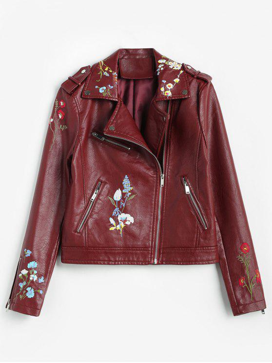 unique Floral Embroidered Faux Leather Biker Jacket - RED WINE XL
