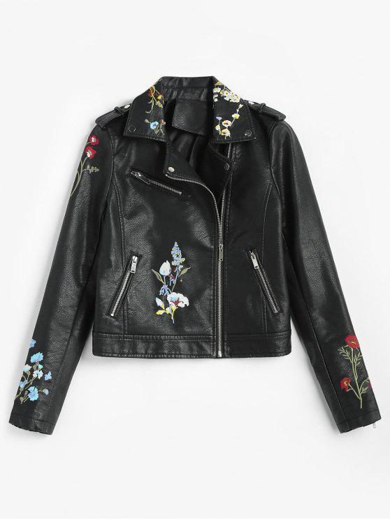hot Floral Embroidered Faux Leather Biker Jacket - BLACK M