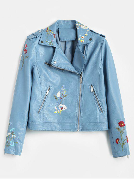 buy Floral Embroidered Faux Leather Biker Jacket - BLUE KOI XL