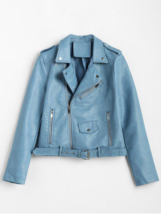 fashion Zip Up Pockets Belted Faux Leather Jacket - BLUE IVY L