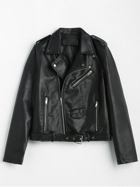 fancy Zip Up Pockets Belted Faux Leather Jacket - BLACK M