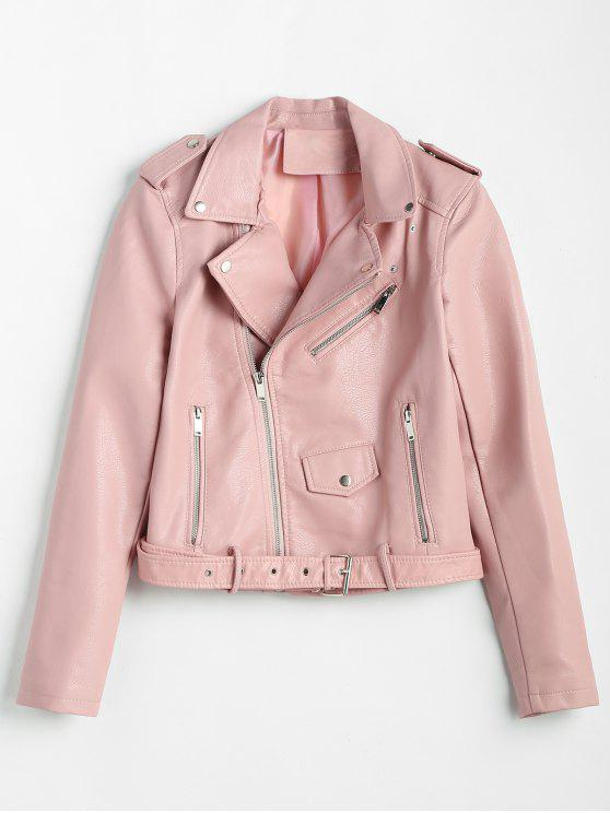 unique Zip Up Pockets Belted Faux Leather Jacket - PINK XL