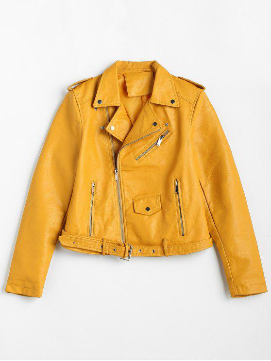 chic Zip Up Pockets Belted Faux Leather Jacket - YELLOW XL