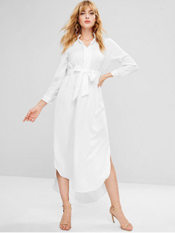 womens Long Sleeve Belted Maxi Dress - WHITE L