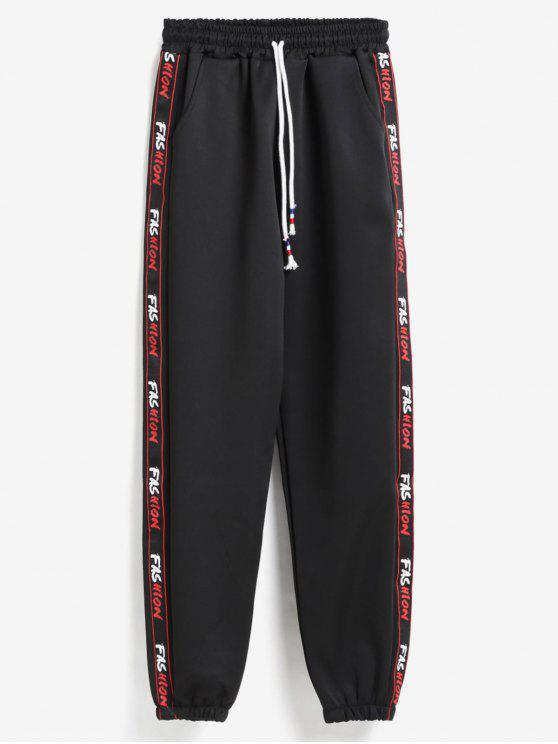 shop Letter Graphic Side Joggers Pants - BLACK XL